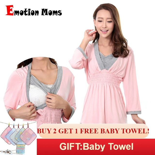 44fc9bfb89812 Emotion Moms maternity clothes maternity nightgown breastfeeding pregnancy  sleepwear for pregnant women nursing pajamas set