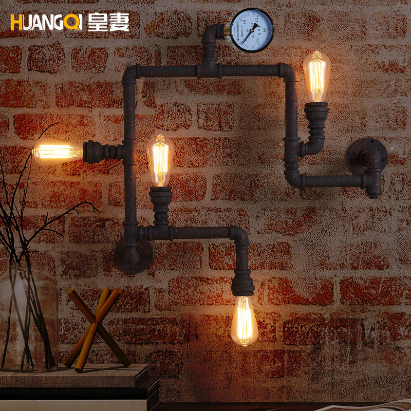 Creative Ancient Water Pipe Wall Lamp Sconce American Vintage Industrial Light Fixtures Bar Coffee Home Decor Apliques Pared|Wall Lamps| |  - title=