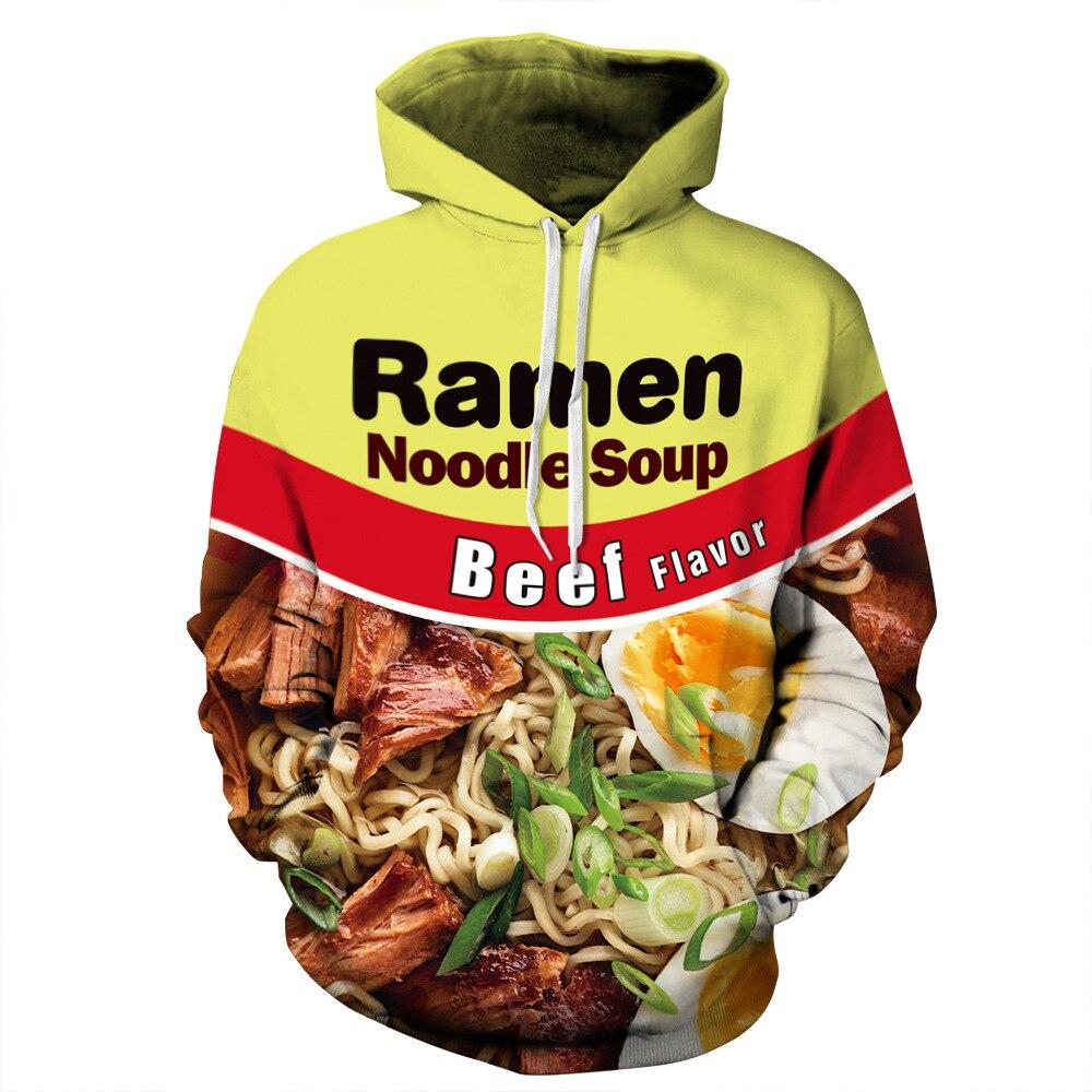 Egg Beef Ramen Print Hoodies Men Hoodie with Hat Round Neck Loose Sweatshirt Pullover Sudaderas Para Hombre Streetwear