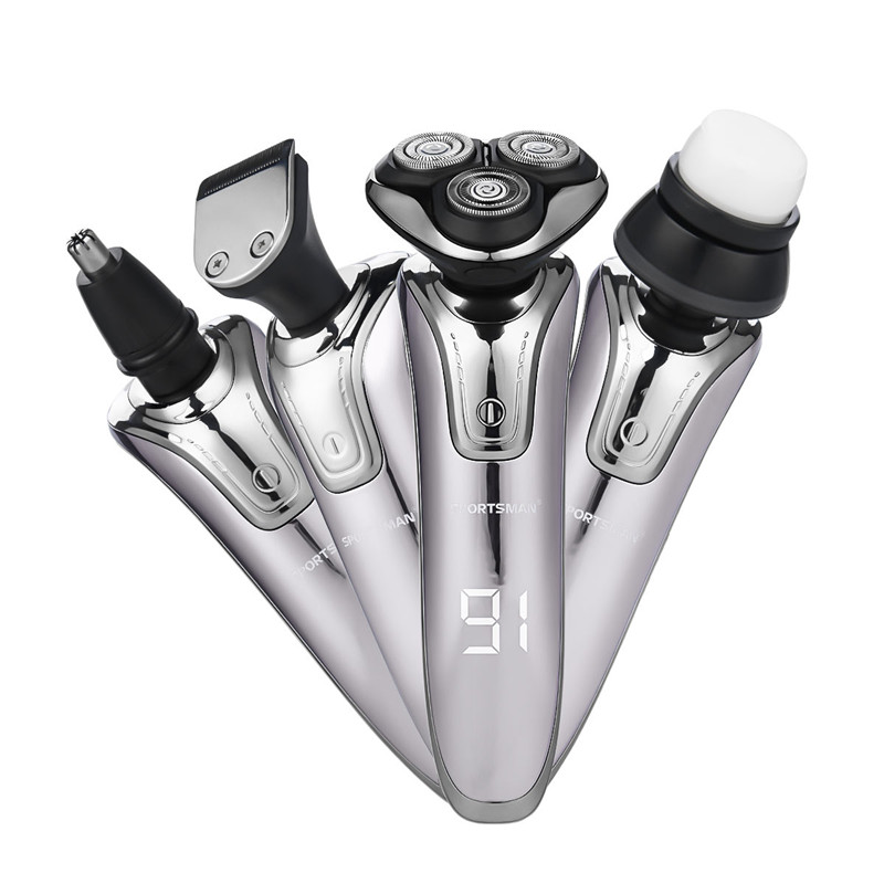 4 in 1 USB Rechargeable Hair Clipper  Razor Waterproof 3D Triple Floating Blades Electric Shaver Nose Ear Trimmer  Face Brush4 in 1 USB Rechargeable Hair Clipper  Razor Waterproof 3D Triple Floating Blades Electric Shaver Nose Ear Trimmer  Face Brush