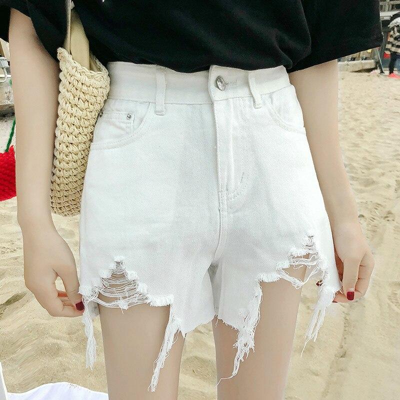 Sexy Jeans Shorts Women Summer Ripped Holes Mini Denim Short Feminino Casual High Waist Jean White Black Shorts