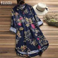 Grande taille Chemise Vestidos femmes Floral Blouse ZANZEA 2019 décontracté boutons chemises Vintage Floral Blusas bohème hauts Chemise
