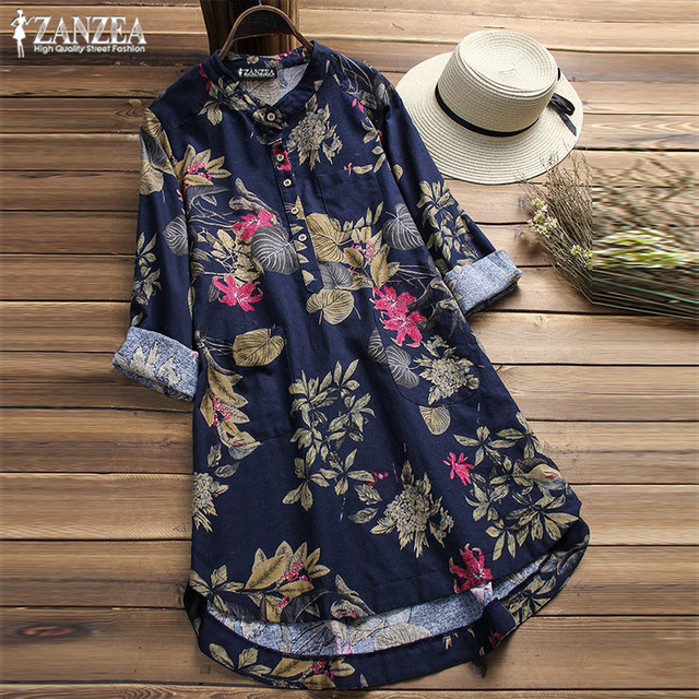 ZANZEA 2019 Plus Size Shirt Women Floral Blouse Female Casual Button Shirts Vintage Linen Blusas Bohemian Tops Chemise Vestidos