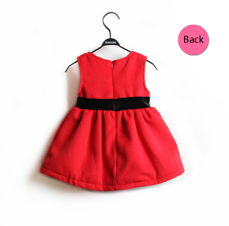 HLB1kHhyGXXXXXbQXpXXq6xXFXXXH - New Children Clothing Autumn Winter Girls Fashion Red Thick Wool Dress with Waist Bow  Children Quality Sleeveless Vest Dress