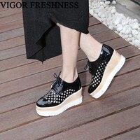 VIGOR FRESHNESS Women Spring Shoes Wedges Heels Woman Pumps Platform Shoes Summer Sneakers Eyelet Pumps 6CM 34 43 Sizes MY185