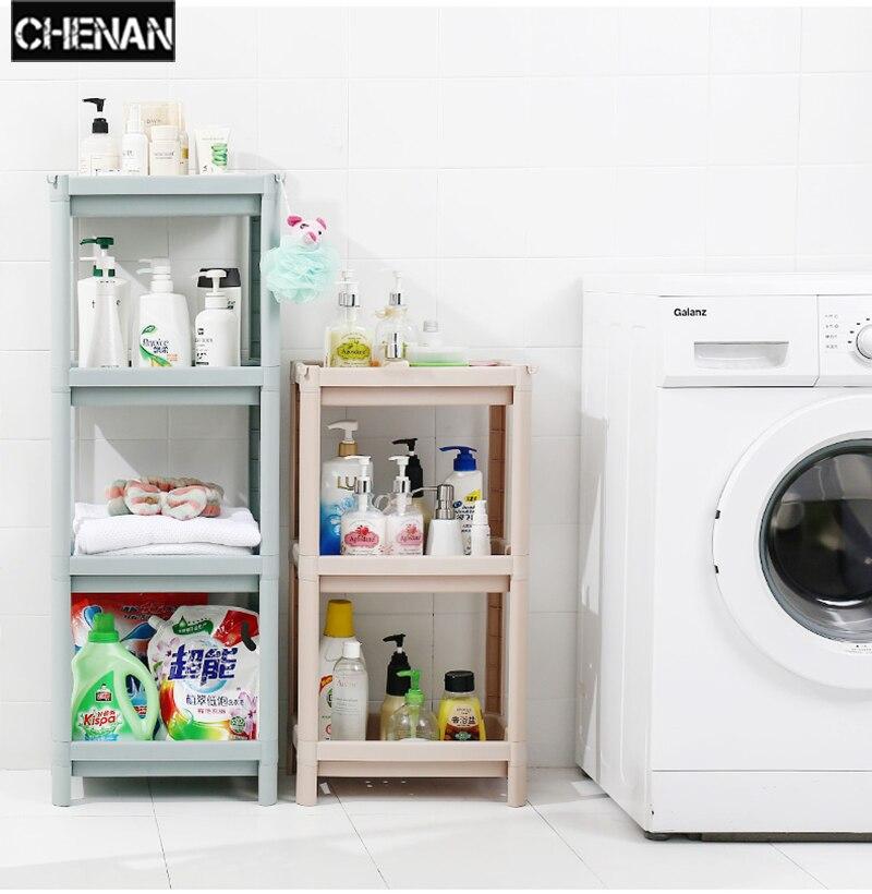 3-Tier Storage Rack Household Shelf Organizer Combination Plastic Floor Living Room Kitchen Bathroom