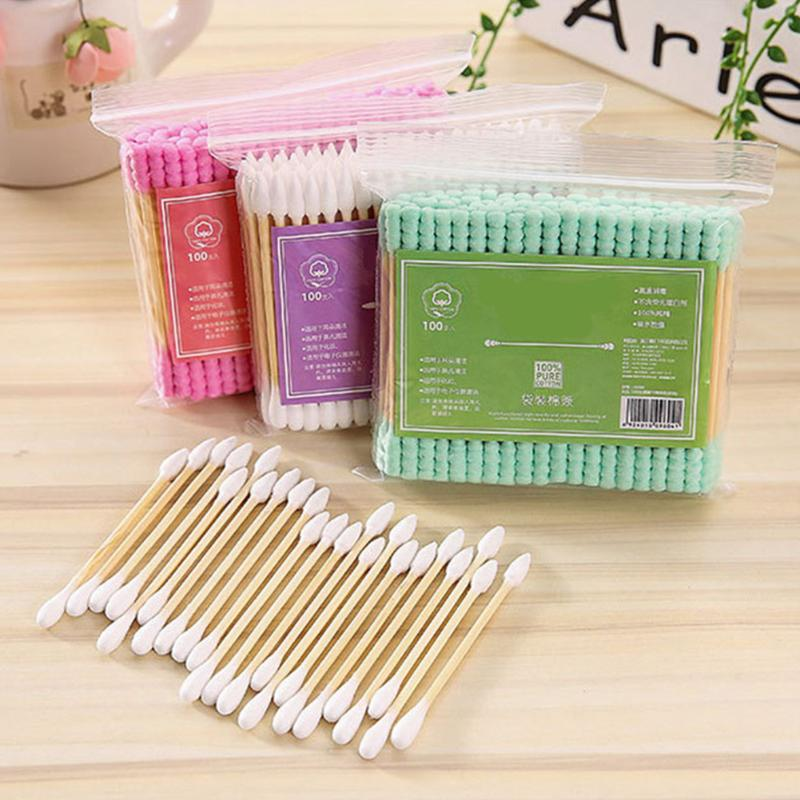 100pcs/pack Double Head Cotton Swab Women Makeup Cotton Buds Tip For Medical Sticks Nose Ears Cleaning Health Care Tools
