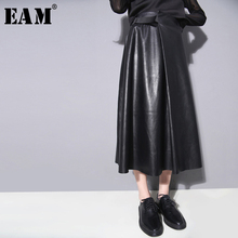 EAM 2019 New Spring Summer High Waist Black Buckle Stitch Pu Leather Loose A-line