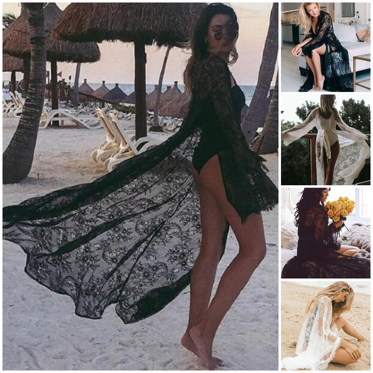 Women Lace Hollow Crochet Swimwear Bikini Long Sleeve Cover Up Beach Dress Sarongs Kaftan(China)