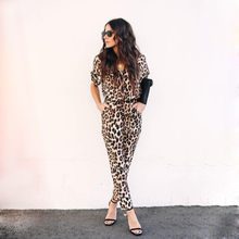 Women Jumpsuits Leopard-Print Short Sleeve Long Pants Streewear Button Vneck Lady Office Casual Clothes GRNSHTS(China)