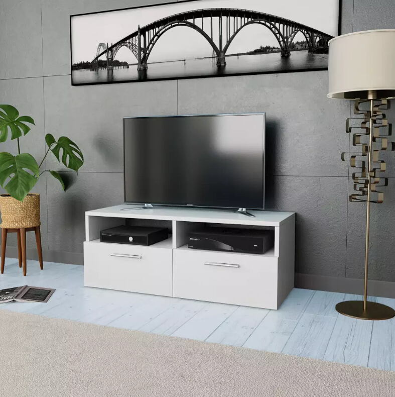 vidaXL TV Cabinet Chipboard White Living Room Furniture Wooden TV Stands TV HiFi Cabinet With Downwards-opening Doors