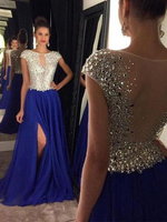 vestidos cerimonia Fashionable Royal Blue Prom Dress 2019 Beaded Crystal Evening Women Party Gown Chiffon