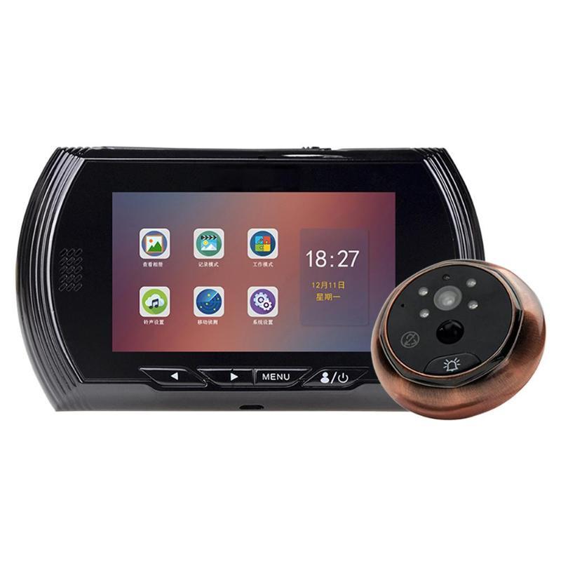 4.5 inch IPS Screen Door Bell Camera 170 Degree Peephole Digital Doorbell Camera Anti-theft Wired Security Camera Door Bell