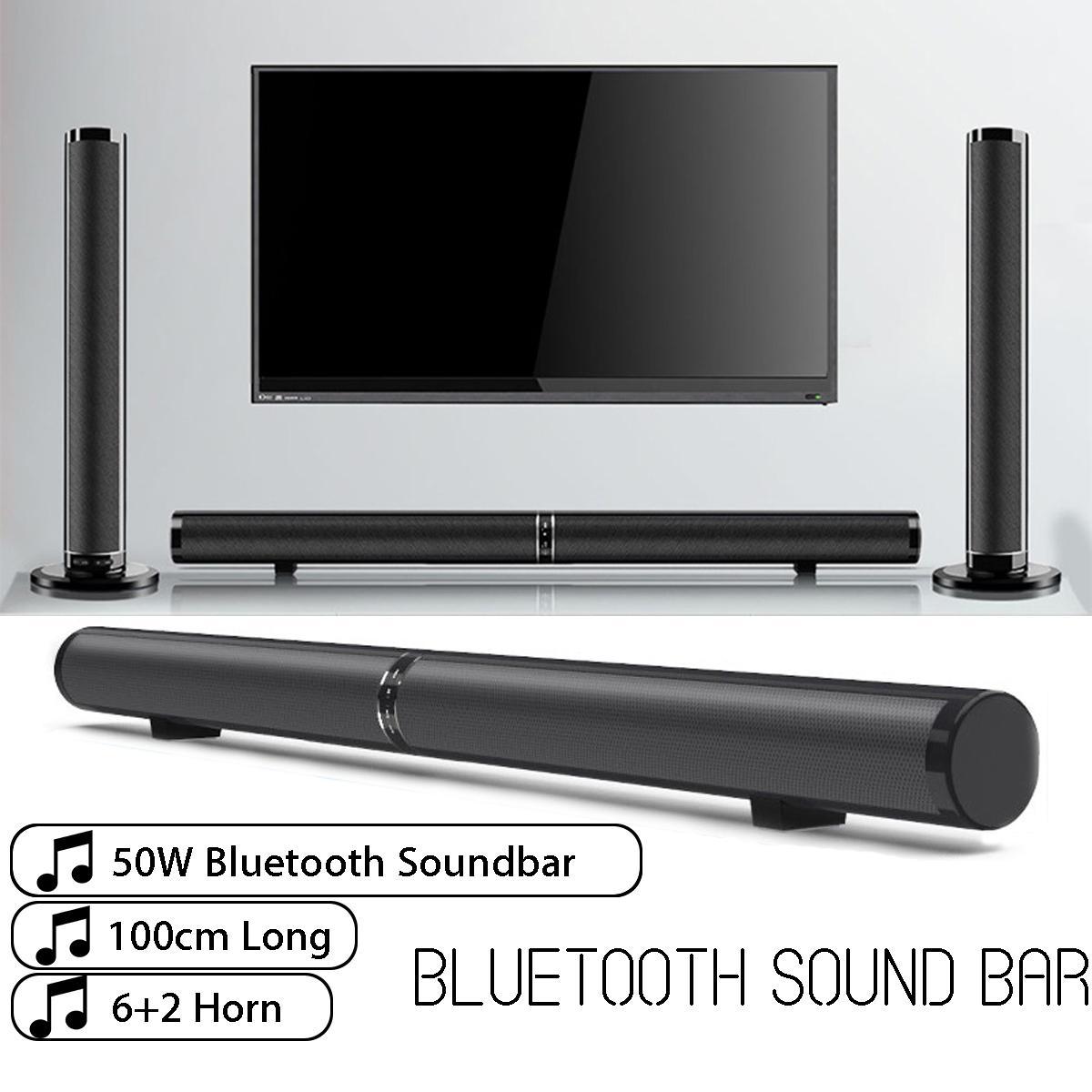 EU US Detachable Bluetooth Soundbar 50W Wireless Stereo Subwoofer Speaker TV Home Theater TF FM USB Virtual Surround Sound Bar