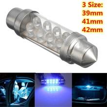 2Pcs 12V 39 41 42mm Universal Car Interior Blue 8 LED Courte