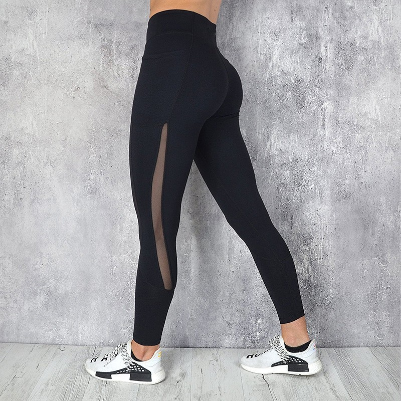 Image 4 - Pocket Solid Sport Yoga Pants High Waist Mesh Sport Leggings Fitness Women Yoga Leggings Training Running Pants Sportswear WomenYoga Pants   -