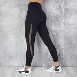 Image 4 - Pocket Solid Sport Yoga Pants High Waist Mesh Sport Leggings Fitness Women Yoga Leggings Training Running Pants Sportswear Women