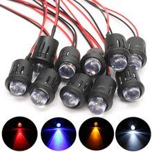 10 pièces 12V 10mm pré câblé lumière LED Constant clignotant 4 couleurs Ultra lumineux eau claire ampoules avec coque en plastique