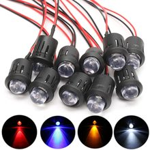 10Pcs 12V 10mm Pre Wired Constant LED Light Flashing 4 Colors Ultra Bright Water Clear Bulbs With Plastic Shell