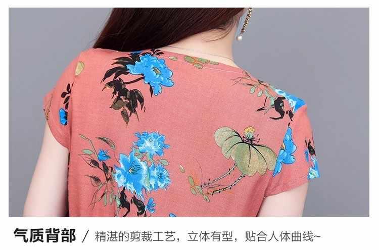 Robe d'été a-ligne taille Promotion Vestidos Mujer femmes robes Vanled col rond à manches courtes coton imprimé mince ceinture L-4XL