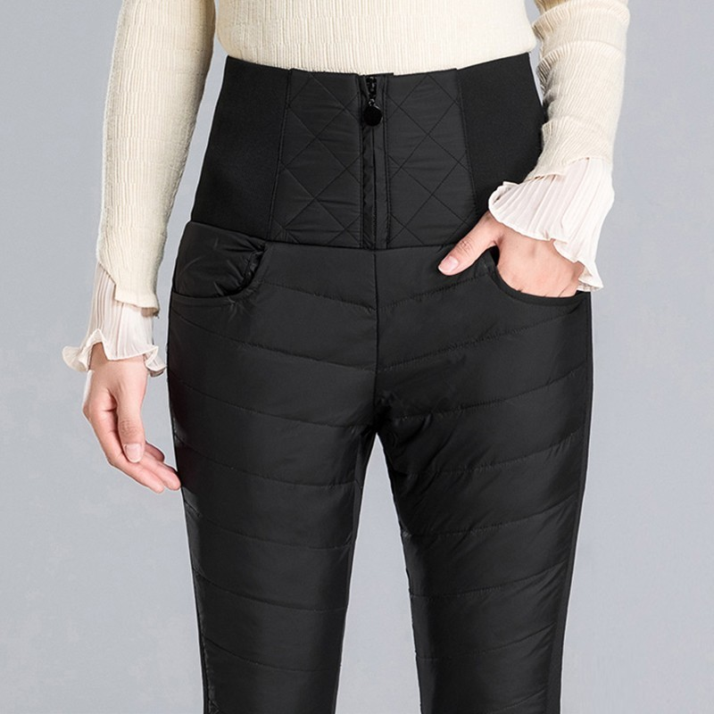 2018 Fashion Warm Double-sided Down Pants Slim Skinny High Waist Winter Women Pants Casual Thicken Feather Trousers Female Ls252