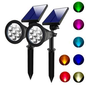 2 SETS 7 LED Solar Spotlights Outdoor Solar Lights IP65 Waterproof Color Spot Lights for Garden Landscape Solar Wall Lights(China)