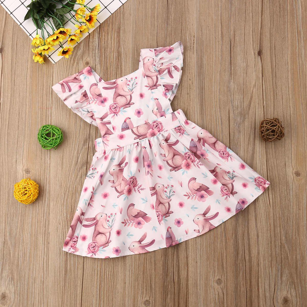 3629047f2c1b2 Easter Bunny Baby Girl Dress Toddler Infant Kids Baby Girl Flower Rabbit  Tutu Dress Party Birthday Dresses For Girls 2019