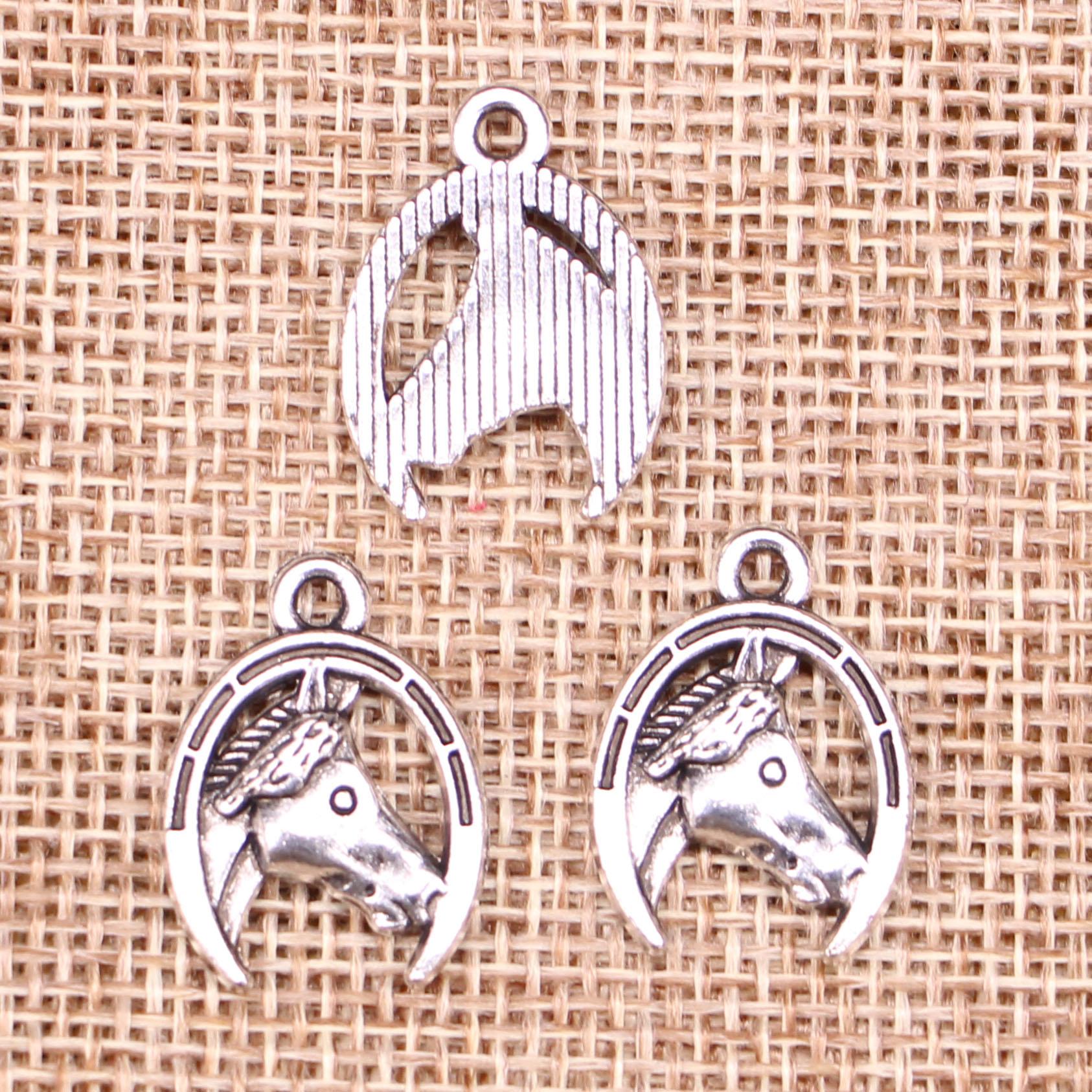 6pcs Charms Horse Head In Horseshoe 21x15mm Antique Making Pendant Fit,vintage Tibetan Silver,diy Bracelet Necklace Jewelry Sets & More