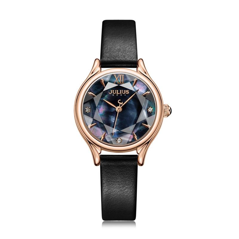 Mother-of-pearl Women's Watch Japan Quartz Elegant Fashion Hour Bracelet Real Leather Clock Girl's Birthday Gift Julius Box