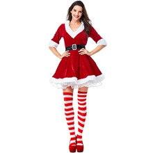 Высокое качество бархат Мисс Санта Клаус Костюм Сексуальная дамы Рождество сладкий красный маскарадный костюм