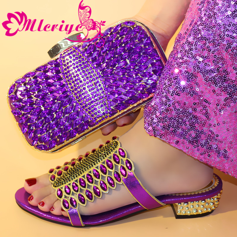 0730 Purple Latest African Shoe And Bags Women Italian Nigerian Shoes And Matching Bags Shoe And Matching Bag Set Decorated