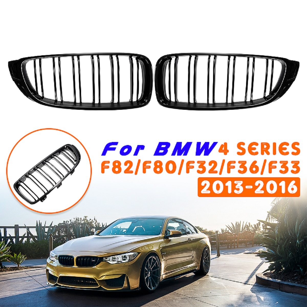 Pair Front Car Hood Kidney Sport Grills Grille For BMW F32 F33 F36 M3 M4 F80 F82  F83 4-Series 2013 2014 2015 2016Pair Front Car Hood Kidney Sport Grills Grille For BMW F32 F33 F36 M3 M4 F80 F82  F83 4-Series 2013 2014 2015 2016