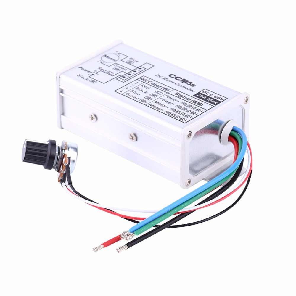 DC 9-60V 20A DC Motor Speed Controller Regulator Driver PWM Small Pump Control 1200W Aluminum Alloy High Quality Hot