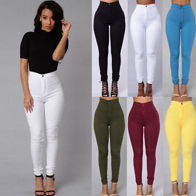 Women Pencil Stretch Casual Look Skinny Solid Pants High Waist Trousers
