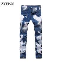 2d3d3c805 Homens Rasgado Jeans Levi ZYFPGS Elasticidade de Alta Qualidade Hip Hop dos  homens Reta Lavado Jean