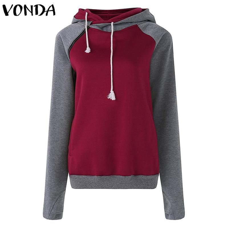 VONDA Women Sweatshirt 2018 Autumn Winter Hooded Hoodies Casual Loose Long Sleeve Patchwork Zipper Tops Outwear