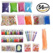 56 Pack Making Kits Pack Slime Stuff Charm Fishbowl Beads Glitter Pearls DIY Handmade Color Foam Ball Material Set(China)