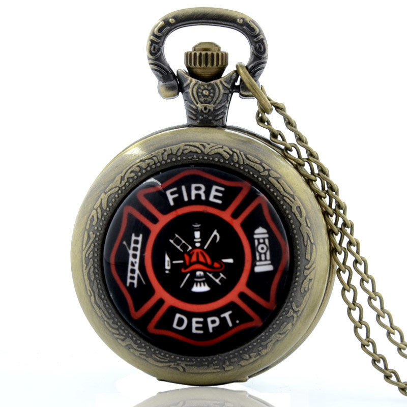 IBEINA US Firefighter Theme Full Hunter Quartz Engraved Fob Retro Pendant Pocket Watch Chain Gift