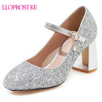 61d735272 Lloprost Ke Sequined Cloth Pumps Women Round Toe Footwear Thick Heels Mary  Jane Bling Shoes Female. US $59.99 US $30.59. Lloprost ke Lantejoulas Pano  Bombas ...