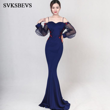 SVKSBEVS 2019 Spaghetti Strap Flowers Appliques Mermaid Long Dresses Party Sleeve Sexy Backless Maxi Dress