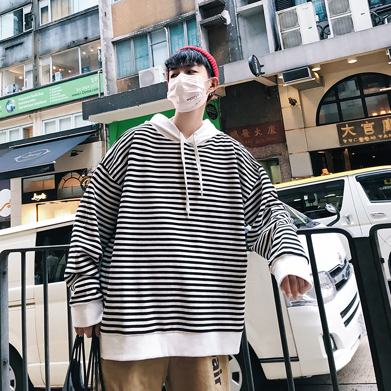 Spring New Hoodies Men Fashion Striped Casual Sweatshirt Man Streetwear Hip Hop Loose Wild Long-sleeved Hooded Pullover Male