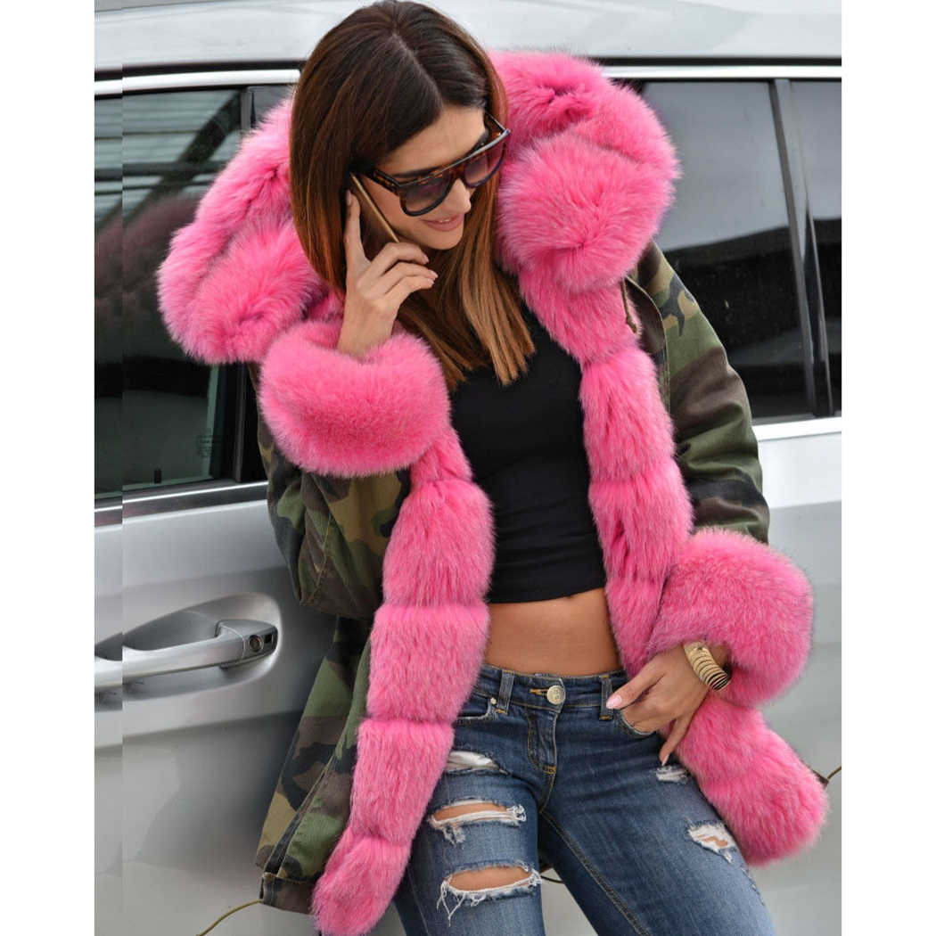 c53b6300f64 2018 Winter Women Parka Pink Faux Fur Collar Camouflage Long Coat Camo Overcoat  Thick Warm Hairy