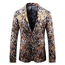 Nueva moda de criatura de mar impresión leopardo chaqueta Masculino Casual  vestido de traje de abrigo Plus tamaño Delgado Fit lo. 82f7966e6e07
