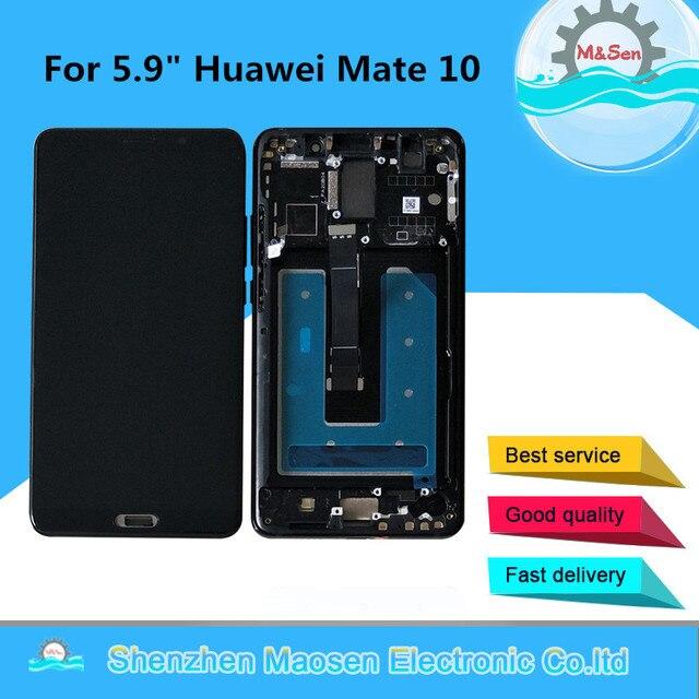 """5.9 """"orijinal M & Sen Huawei Mate 10 için ALP L09 ALP L29 LCD ekran çerçeve + dokunmatik Digitizer için mate 10 LCD + Fingerprit"""