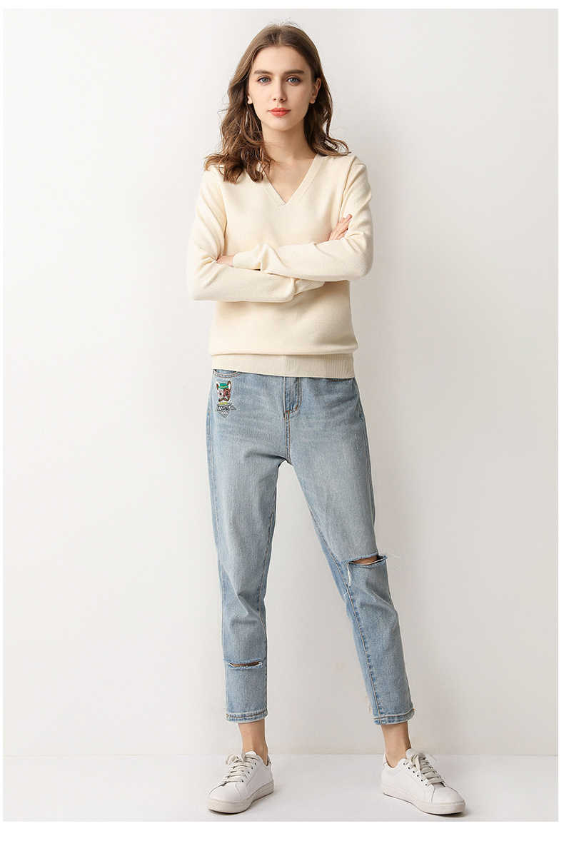 PEONFLY 새로운 2020 봄 소프트 스웨터 여성 풀오버 니트 탑스 V 넥 여성 긴 소매 점퍼 플러스 사이즈 솔리드 스웨터