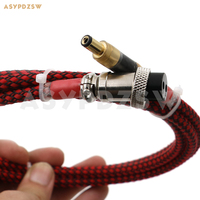 1.8 Meter Single crystal copper plating silver Linear power supply GX16 2 Pin to 5.5*2.1mm Gold plated air output cable
