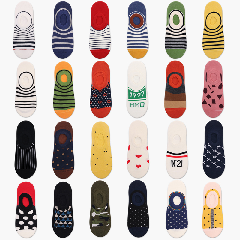 PEONFLY Men Shallow Mouth Socks Happy Funny Geometric Stripe Point Letter Camouflage Street Harajuku Hip Hop Cotton Boat Socks