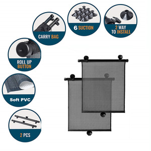 Image 5 - 2 × 40 × 46 センチメートル格納式カーウィンドウサンシェードバイザーロールカーテンブラインド吸引パッド