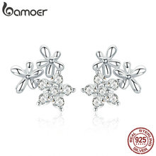 BAMOER Authentic 925 Sterling Silver Luminous Gypsophila Star Flower Stud Earrings for Women Jewelry BSE030