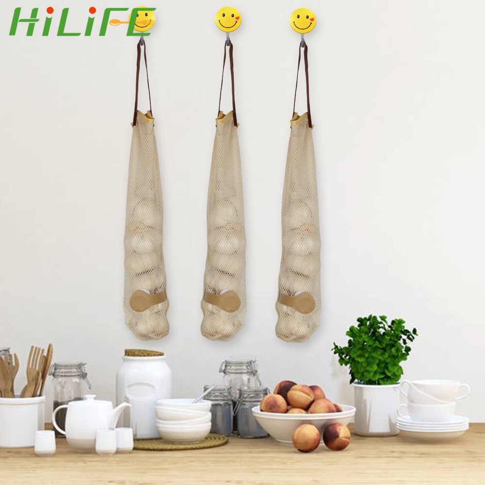 HILIFE Polyester Gadgets Portable Fruit And Vegetable Storage Bag Kitchen Accessories Mesh Bag Garlic Potatoes Pouch